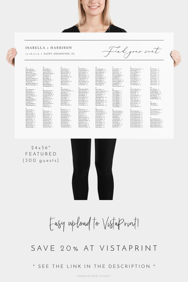 Evelyn - Elegant Minimal Wedding Alphabetical Seating Chart Template