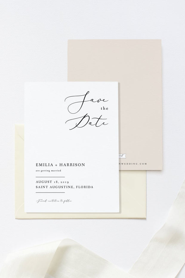 Evelyn - Elegant Minimal Wedding Save the Date Template - Unmeasured Events