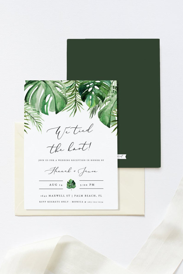 Cora - Modern Palm Tropical Elopement Invitation Template - Unmeasured Events