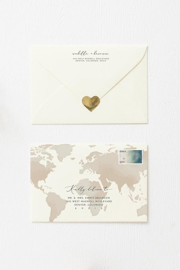 Carmen - Watercolor Map Destination Wedding Envelope Addressing Template - Unmeasured Events