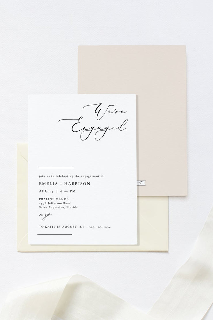 Evelyn - Elegant Minimal Engagement Party Invitation Template - Unmeasured Events