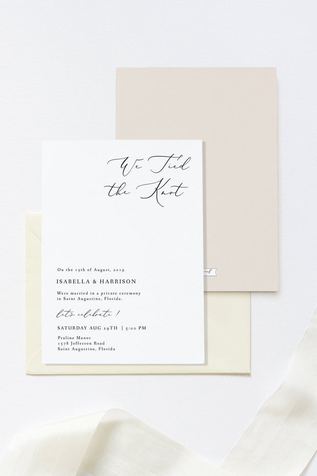 Evelyn - Elegant Minimal Wedding Elopement Party Invitation Template - Unmeasured Events