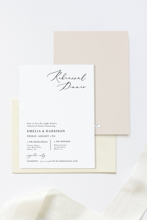 Evelyn - Elegant Minimal Wedding Rehearsal Invitation Template
