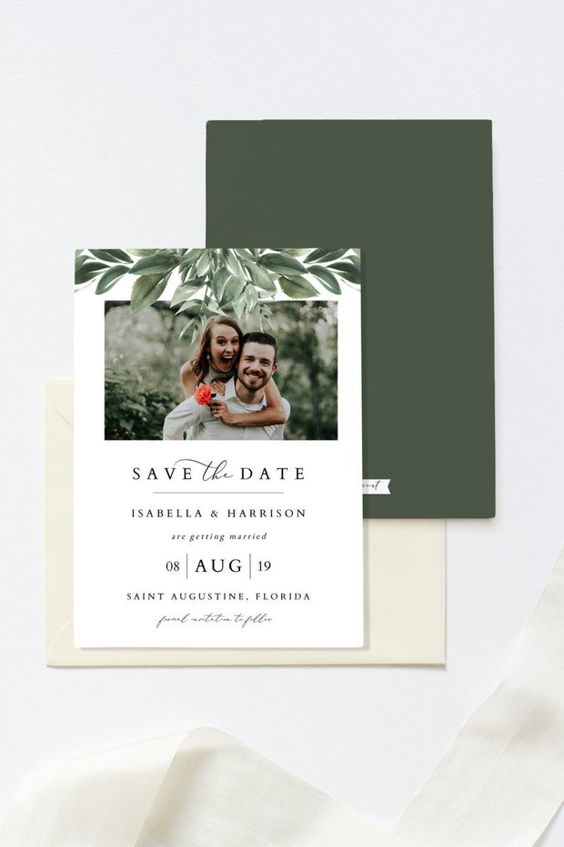 Lana - Modern Greenery Photo Save the Date Template