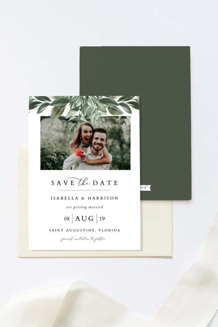 Lana - Modern Greenery Photo Save the Date Template - Unmeasured Events