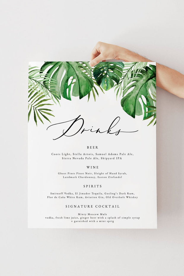 Cora - Modern Palm Tropical Bar Menu Sign Template - Unmeasured Events