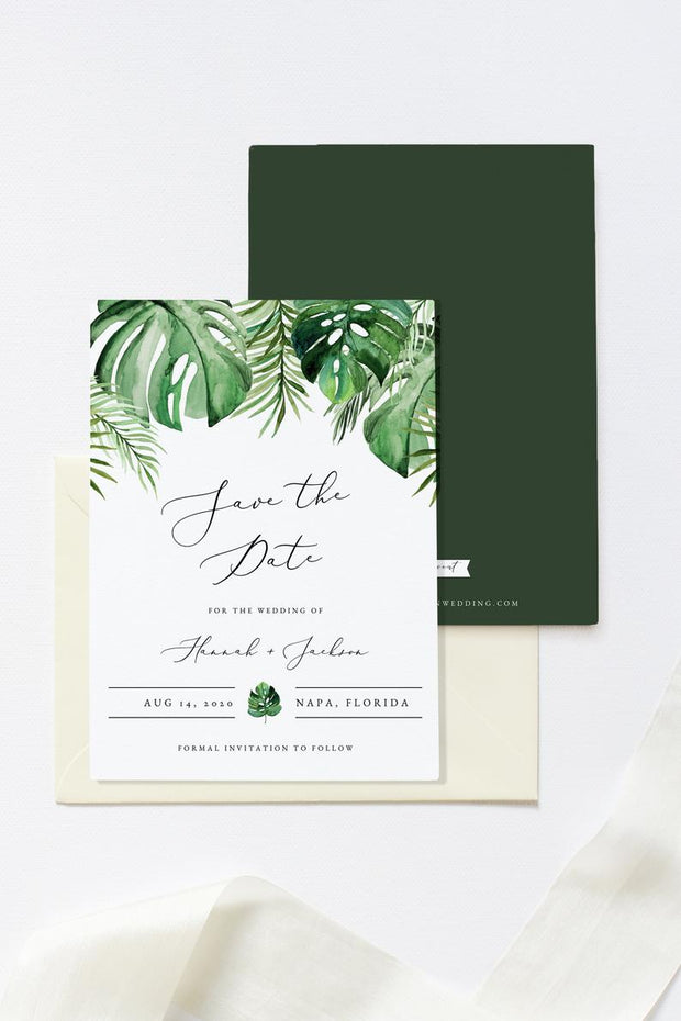 Cora - Modern Palm Tropical Save the Date Template - Unmeasured Events