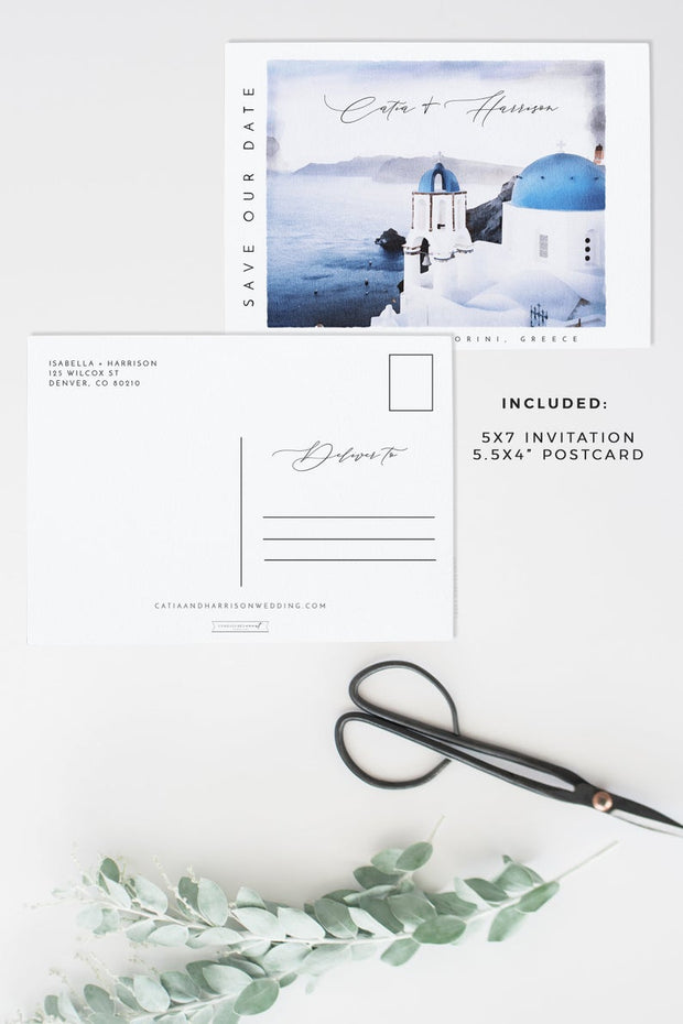 Catia - Watercolor Santorini Greece Save the Date Template - Unmeasured Events
