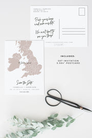 Quinn - Rose Gold Ireland Scotland and UK Map Save the Date Template