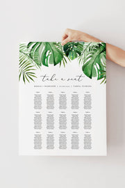 Cora - Modern Palm Tropical Table Seating Chart Template - Unmeasured Events