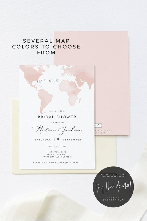 Carmen - Watercolor Map Destination Bridal Shower Invitation Template - Unmeasured Events