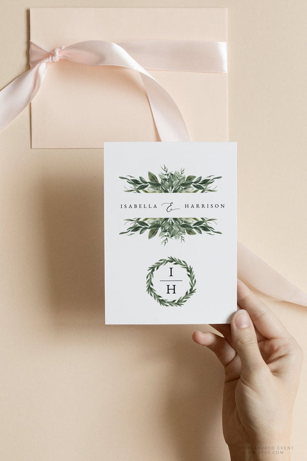 Lana - Modern Greenery Wedding Logo and Monogram Template - Unmeasured Events