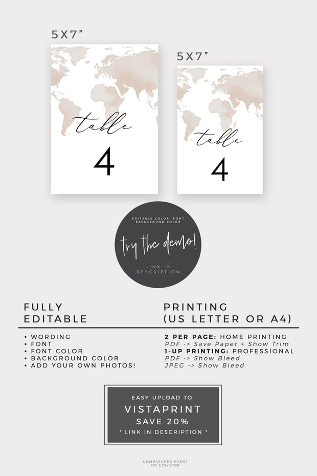 Carmen - Watercolor Map Destination Wedding Table Number Template