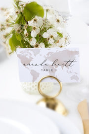 Carmen - Watercolor Map Destination Wedding Place Card Template - Unmeasured Events