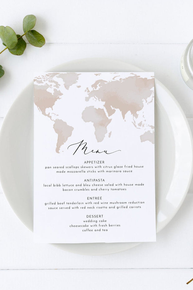 Carmen - Watercolor Map Destination Wedding Invitation Large Template Bundle