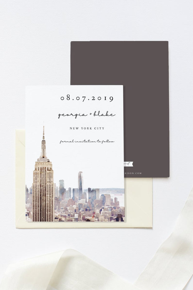 Petra - Watercolor New York City NYC Save the Date Template