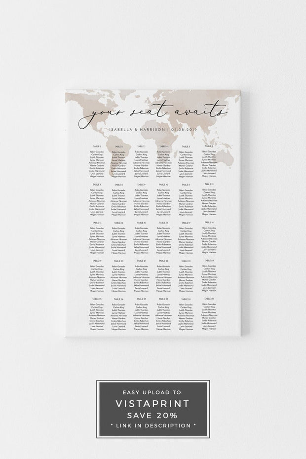 Carmen - Watercolor Map Destination Table Seating Chart Template