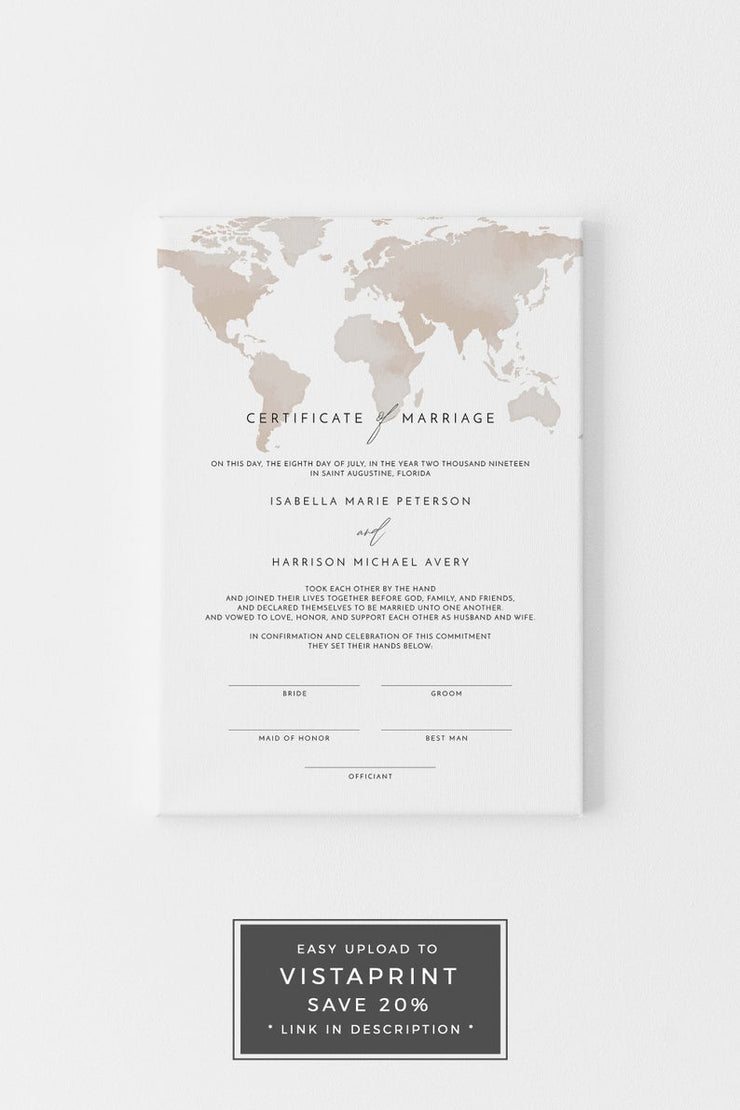 Carmen - Watercolor Map Destination Wedding Marriage Certificate Template - Unmeasured Events