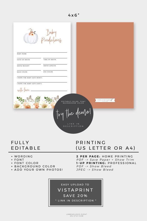 Amber - Pumpkin Baby Shower Advice & Predictions Card Template - Unmeasured Events