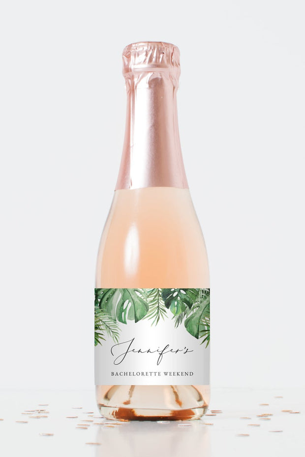 Cora - Modern Palm Tropical Mni Champagne Label Template - Unmeasured Events