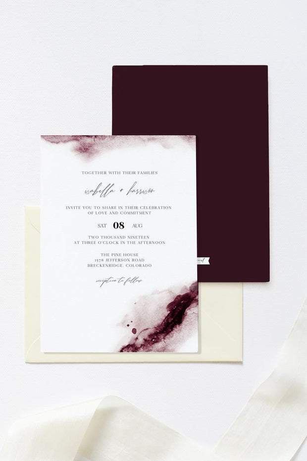 Scarlett - Abstract Burgundy Watercolor Wedding Invitation Template - Unmeasured Events