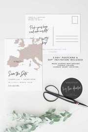 Quinn - Rose Gold Europe Map Save the Date Template