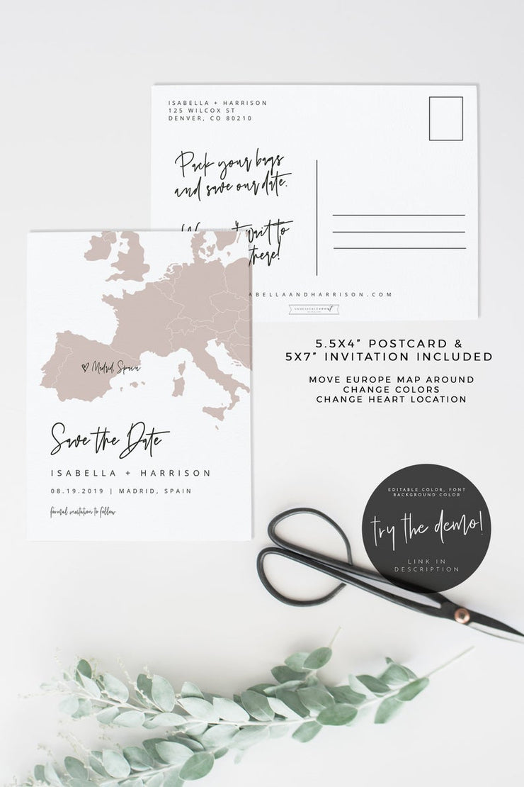 Quinn - Rose Gold Europe Map Save the Date Template - Unmeasured Events