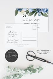 Milena - Dusty Blue Floral Wedding Save the Date Template - Unmeasured Events
