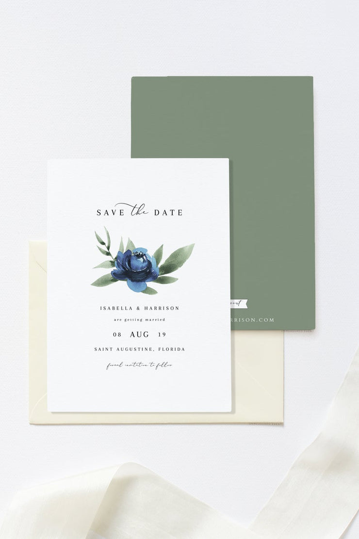 Milena - Dusty Blue Floral Minimal Wedding Save the Date Template Printable - Unmeasured Events