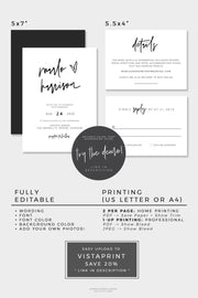 Marlo - Bold Contemporary Wedding Invitation Template Suite
