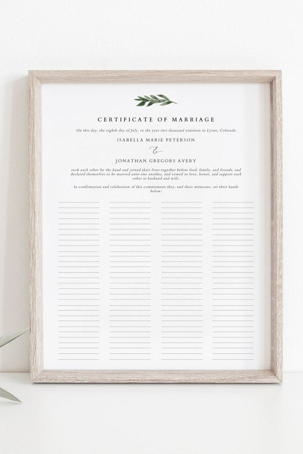 Lana - Modern Greenery Guest Book Marriage Certificate Template - Unmeasured Events