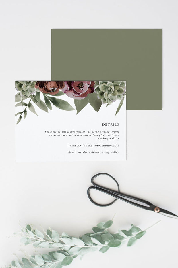 Ava - Boho Burgundy & Succulent Wedding Enclosure Card Template - Unmeasured Events