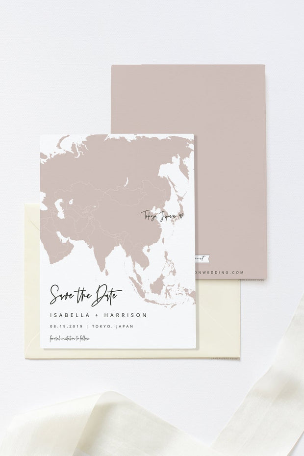 Quinn - Rose Gold Asia Map Save the Date Template