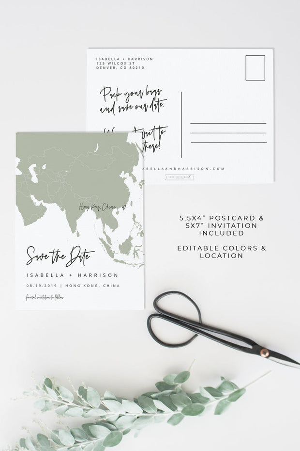 Quinn - Rose Gold Asia Map Save the Date Template - Unmeasured Events