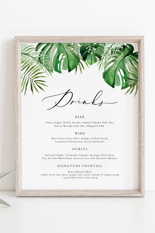 Cora - Modern Palm Tropical 8X10 Drink Menu Template - Unmeasured Events
