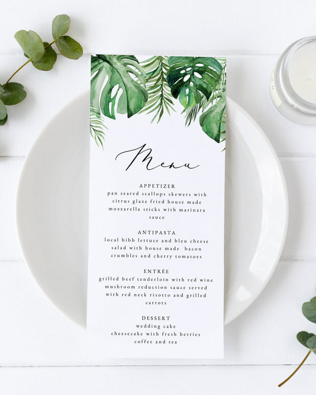 Cora - Modern Palm Tropical Wedding Menu Template - Unmeasured Events