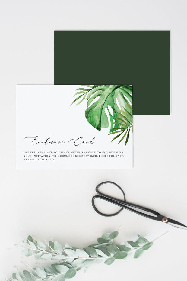 Cora - Modern Palm Tropical Enclosure Card Template - Unmeasured Events
