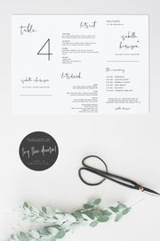 Adella - Table Number Trifold Menu and Timeline Template - Unmeasured Events