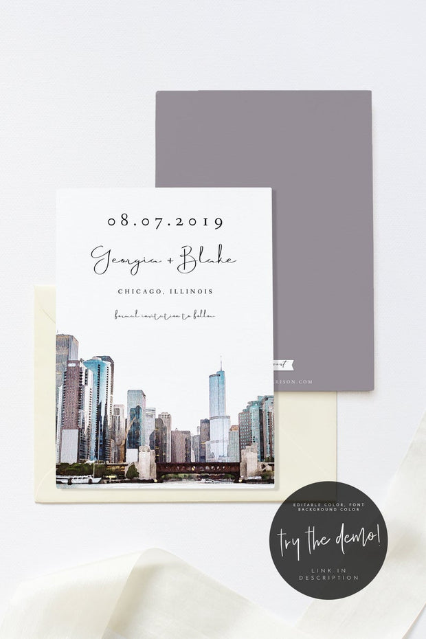 Alexa - Watercolor Chicago Skyline Save the Date Template - Unmeasured Events