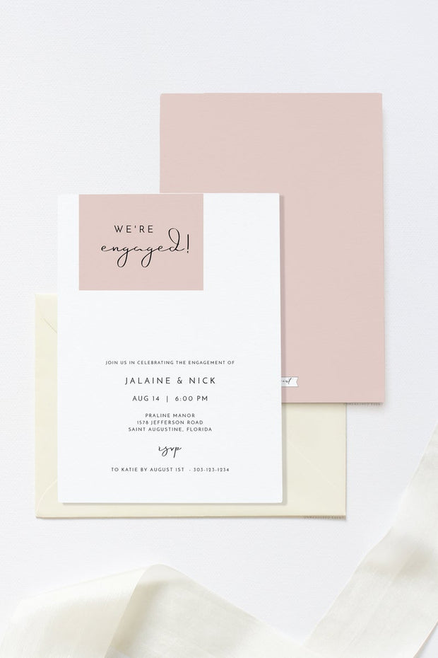 Jalaine - Modern Blush Engagement Party Invitation Template - Unmeasured Events