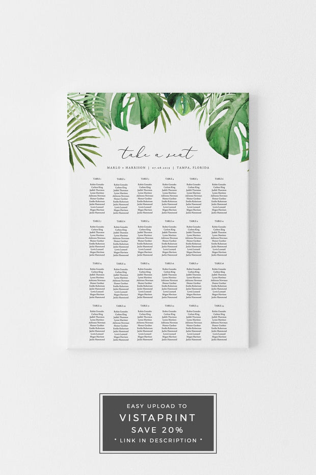 Cora - Modern Palm Tropical Wedding Invitation Template Bundle