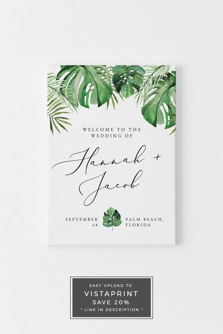 Cora - Modern Palm Tropical Welcome Sign Template - Unmeasured Events