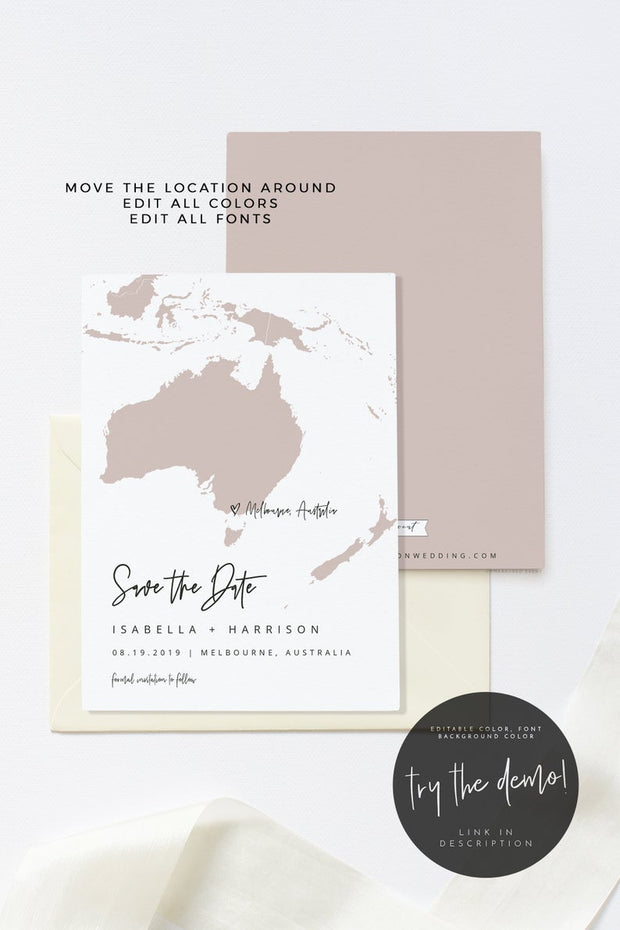 Quinn - Oceania Map Save the Date Template