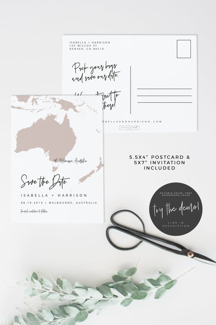 Quinn - Oceania Map Save the Date Template - Unmeasured Events
