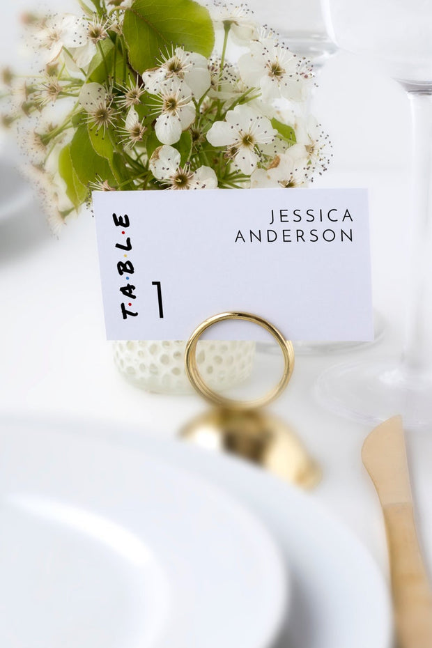 Rachel - Modern Friend Themed Wedding Place Card Template - Unmeasured Events