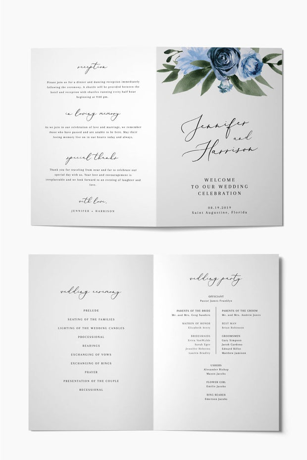 Milena - Dusty Blue Floral Folded Wedding Program Template - Unmeasured Events