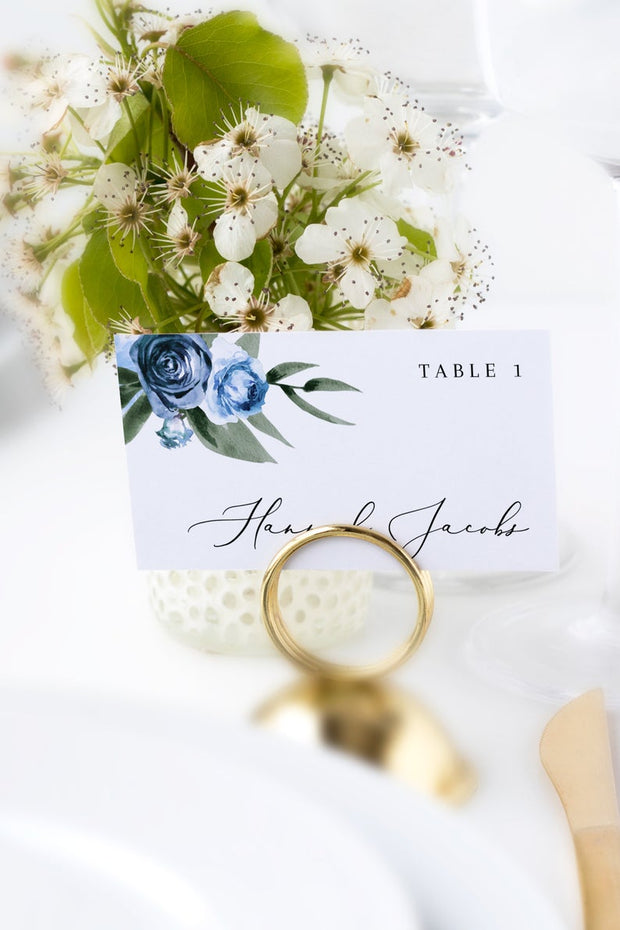 Milena - Dusty Blue Floral Wedding Place Card Template Printable - Unmeasured Events