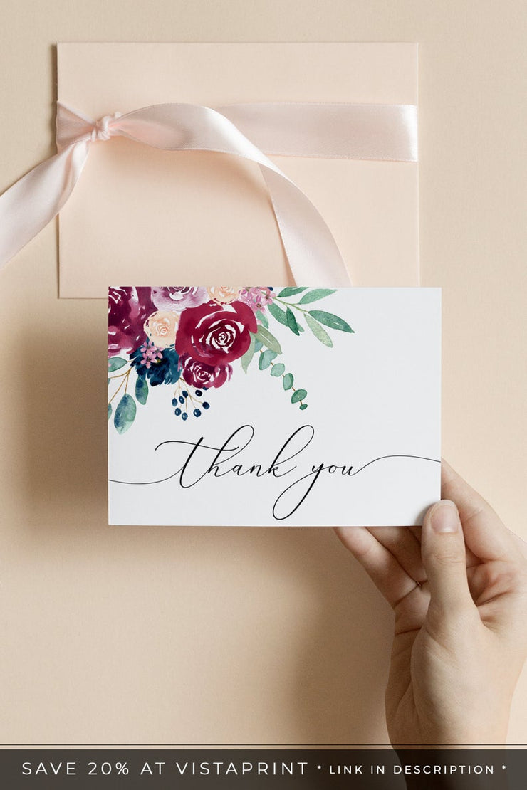 Bella - Marsala Floral Wedding Thank You Card Template - Unmeasured Events