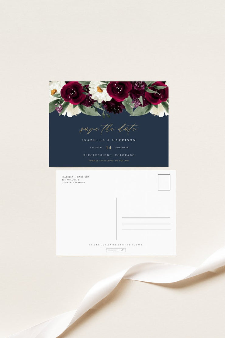 Rosa - Bordeaux Floral Wedding Save the Date Template - Unmeasured Events