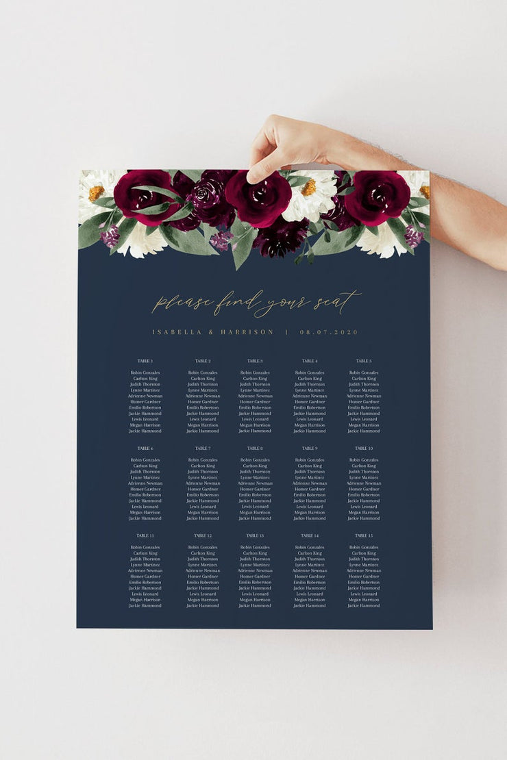 Rosa - Bordeaux Floral Wedding Table Seating Chart Template - Unmeasured Events